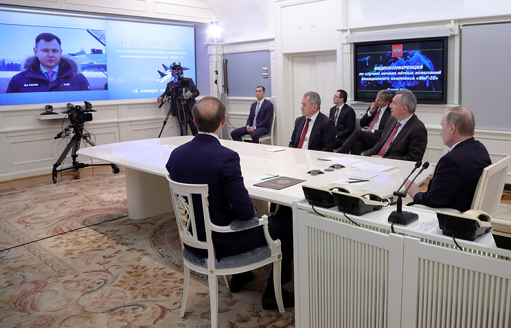 Президент России по видеосвязи заслушал доклад о начале летных испытаний нового истребителя «МиГ-35»