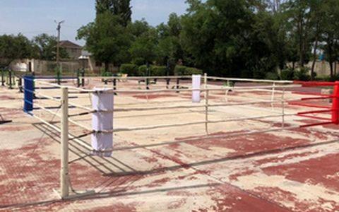 На стадионе «Волга» установили боксерский ринг