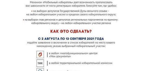 Территориальная избирательная комиссия Ахтубинского района информирует о механизме «Мобильный избиратель»